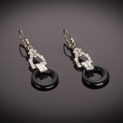 Boucles d'oreilles diamants onyx Art Déco