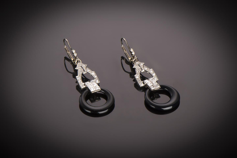 Boucles d'oreilles diamants onyx Art Déco-1