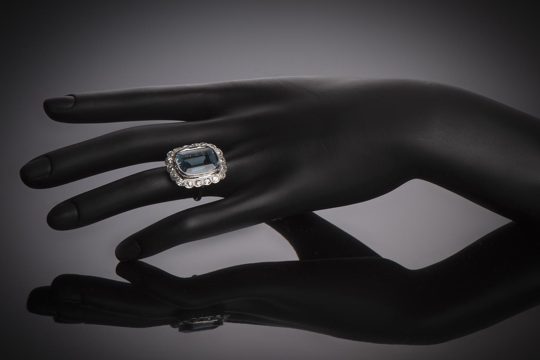 Bague aigue-marine (20 carats) diamants Art Déco-3