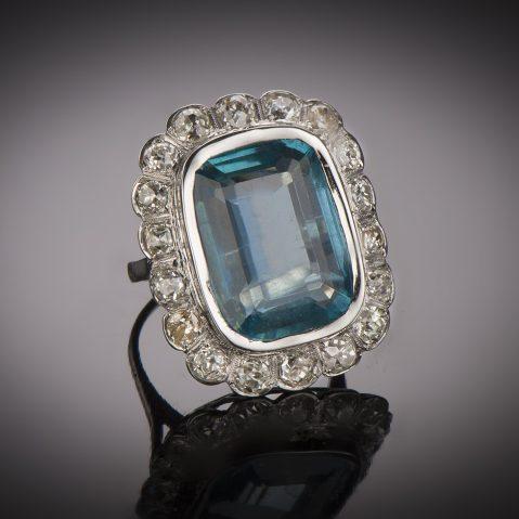 Bague aigue-marine (20 carats) diamants Art Déco