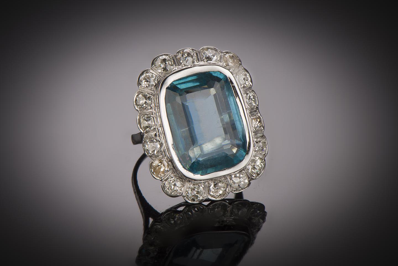 Bague aigue-marine (20 carats) diamants Art Déco-1