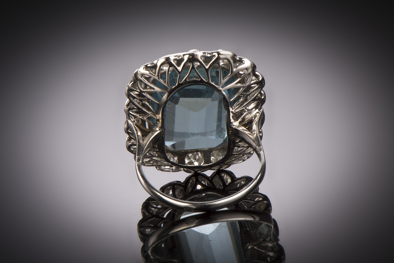 Bague aigue-marine (20 carats) diamants Art Déco-2