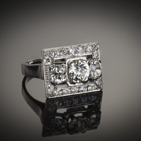 Bague Art Déco diamants (2,80 carats)