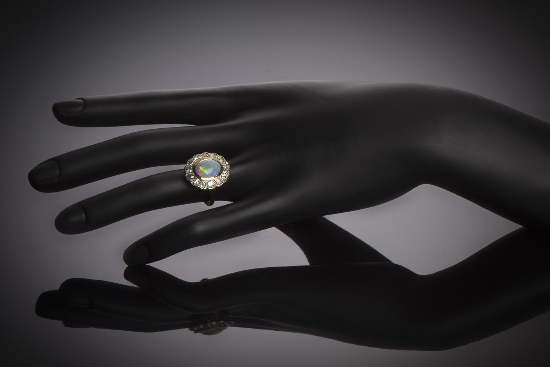 Bague opale diamants début XXe siècle-3