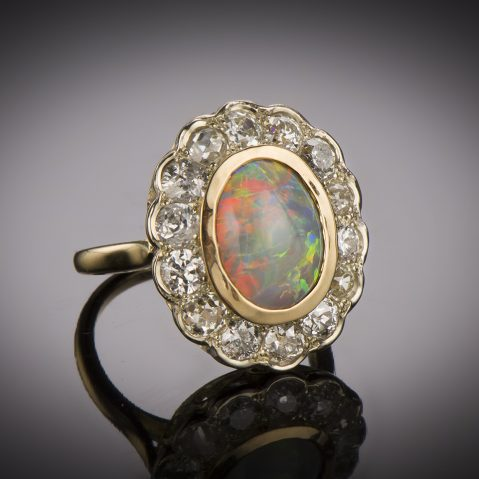 Bague opale diamants début XXe siècle