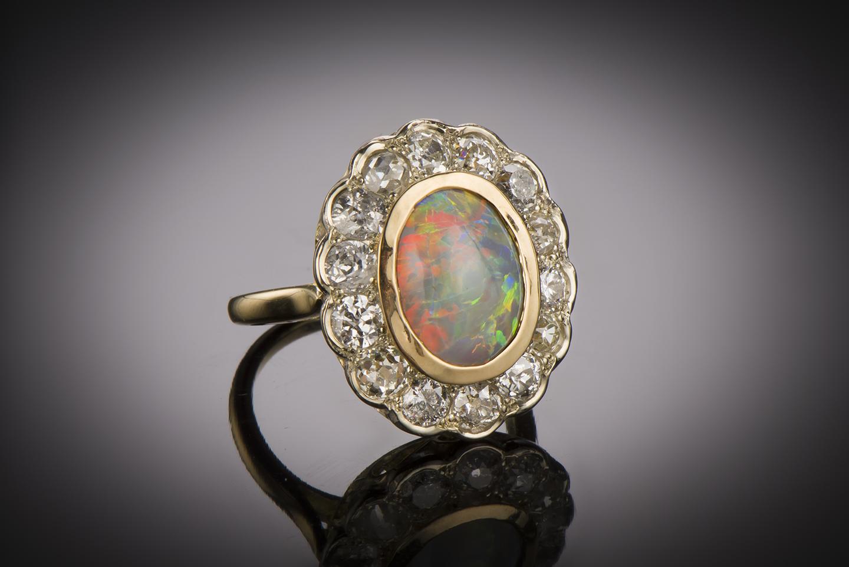 Bague opale diamants début XXe siècle-1
