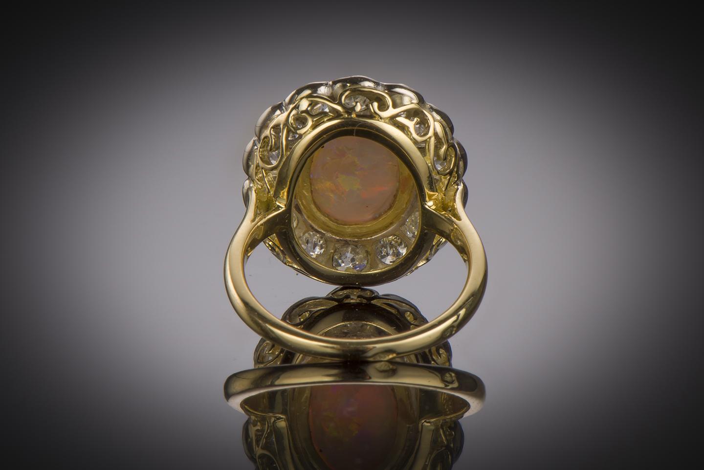 Bague opale diamants début XXe siècle-2