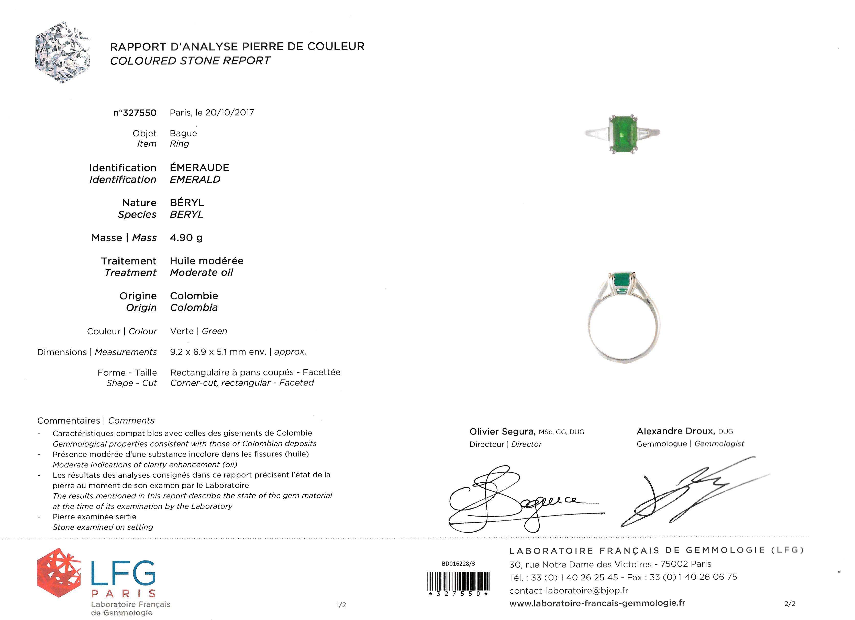Bague Cartier émeraude (certificat LFG) diamants-3