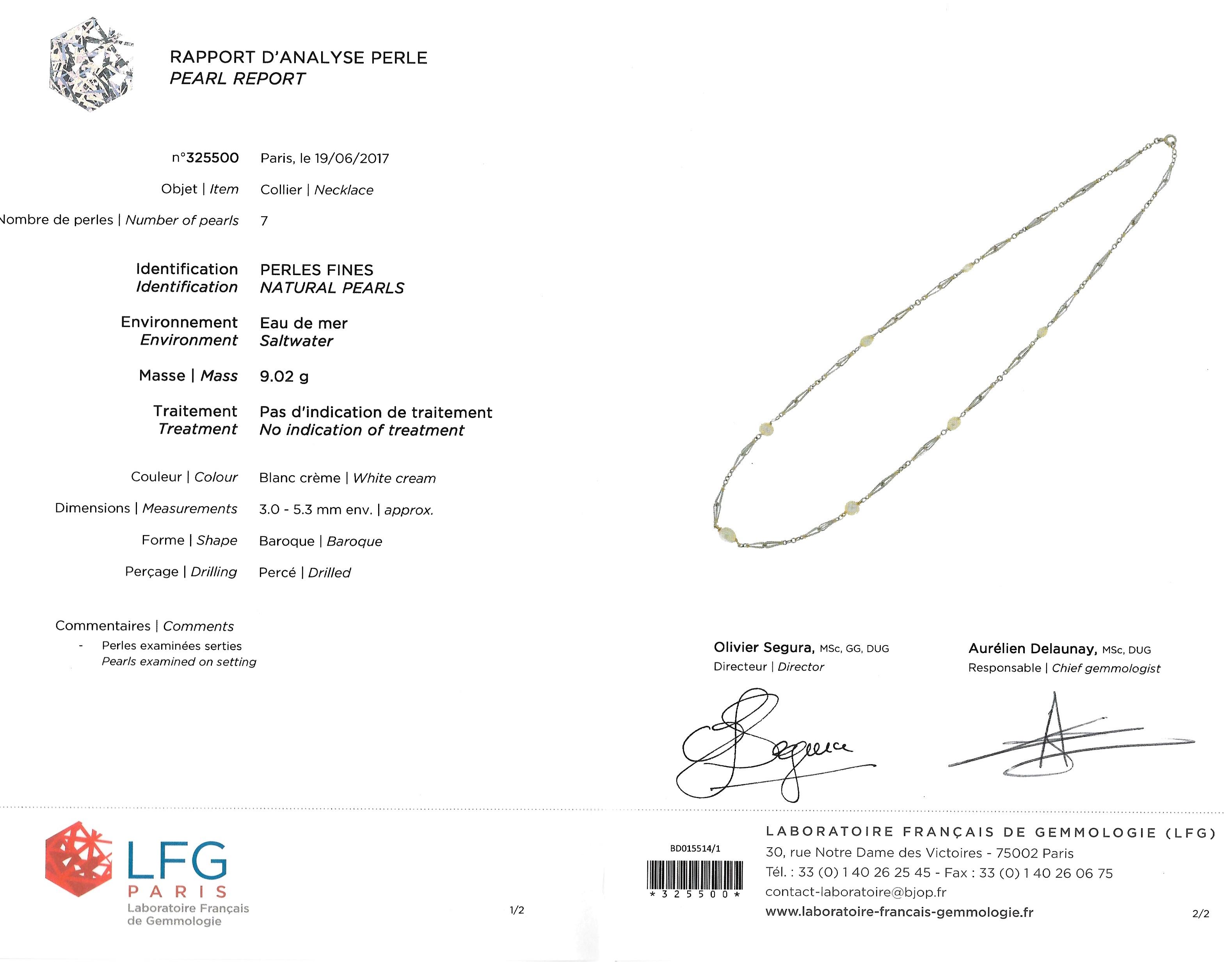 Collier perles fines (certificat LFG) Art Déco-3