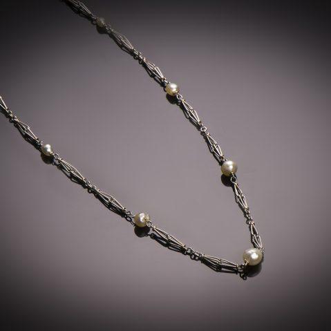 Collier perles fines (certificat LFG) Art Déco