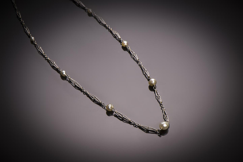 Collier perles fines (certificat LFG) Art Déco-1