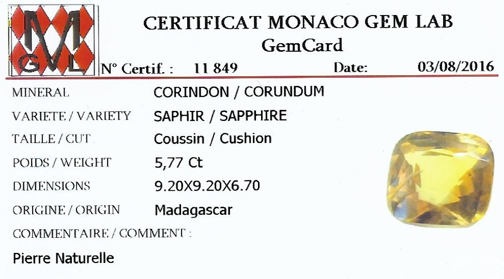 Bague saphir jaune naturel (5,77 carats, certificat MGL) diamants-4