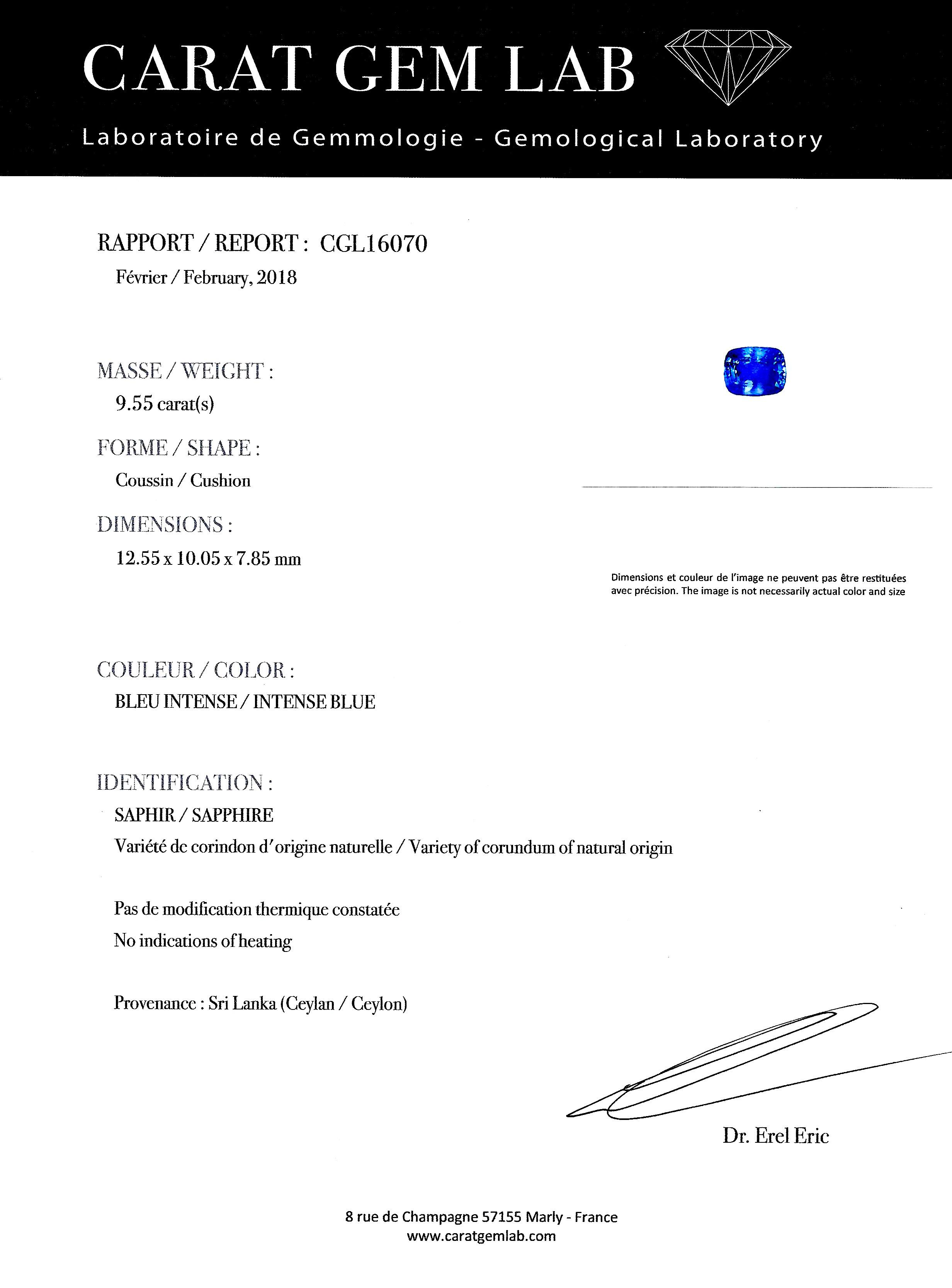 Bague saphir naturel bleu intense (9,55 carats – Certificat CGL) diamants-2