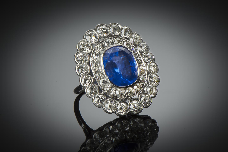 Bague Art Déco saphir 8,21 carats (certificat CGL) diamants-1