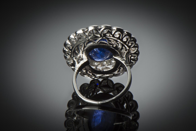 Bague Art Déco saphir 8,21 carats (certificat CGL) diamants-2