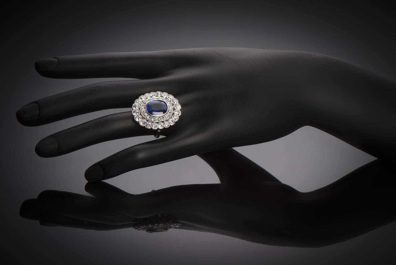 Bague Art Déco saphir 8,21 carats (certificat CGL) diamants-3