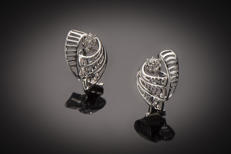 Boucles d'oreilles diamants vers 1950-1