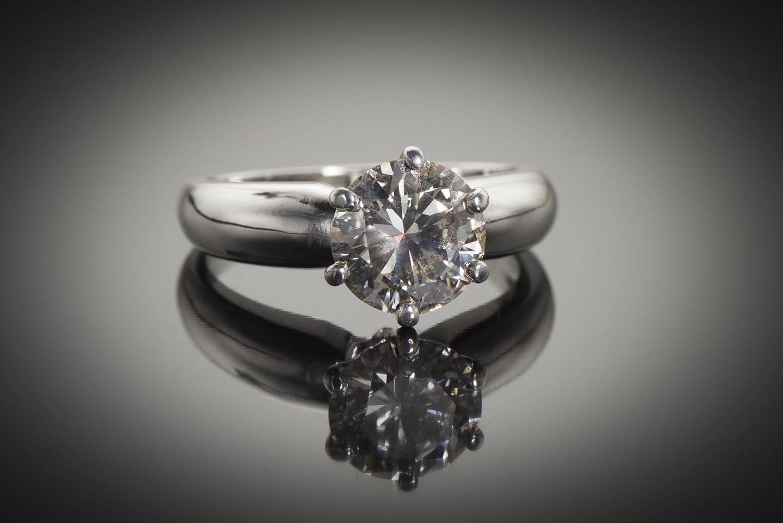 Bague solitaire diamant brillant 2,03 carats E VS (certificat LFG)-1