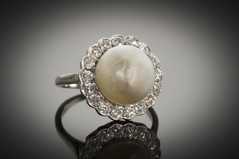 Bague Art Déco perle fine 11 mm (certificat LFG) diamants-1