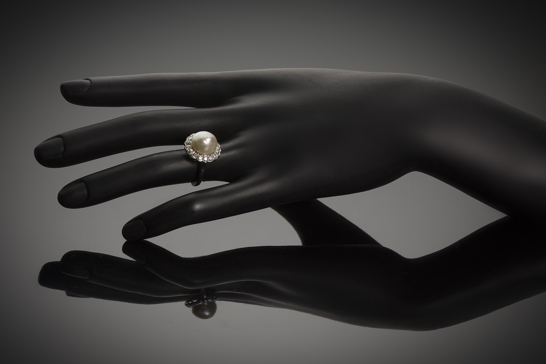 Bague Art Déco perle fine 11 mm (certificat LFG) diamants-3