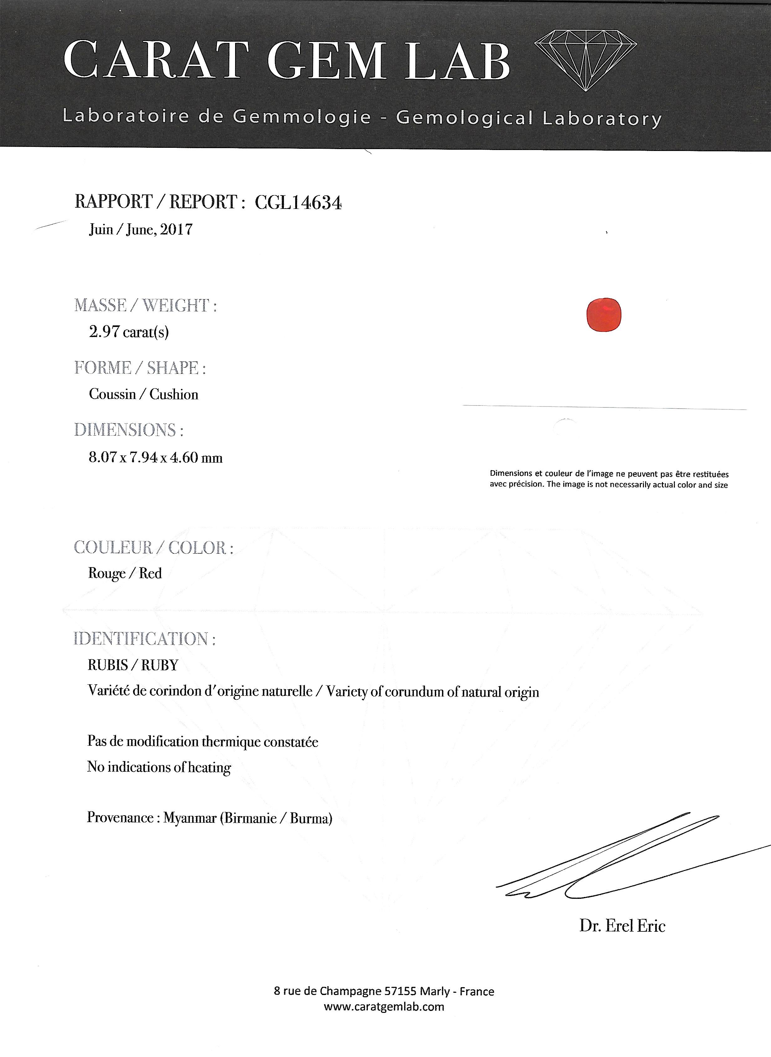 Bague Art Déco rubis birman naturel (certificat CGL) diamants-4