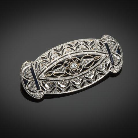 Broche Art Déco diamants saphirs calibrés
