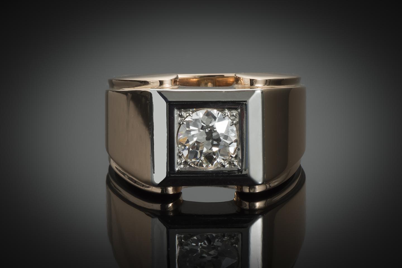 Bague Tank vers 1940 diamant (1 carat)-1