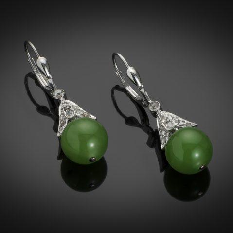 Boucles d'oreilles jade diamants Art Déco