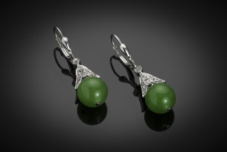 Boucles d'oreilles jade diamants Art Déco-1