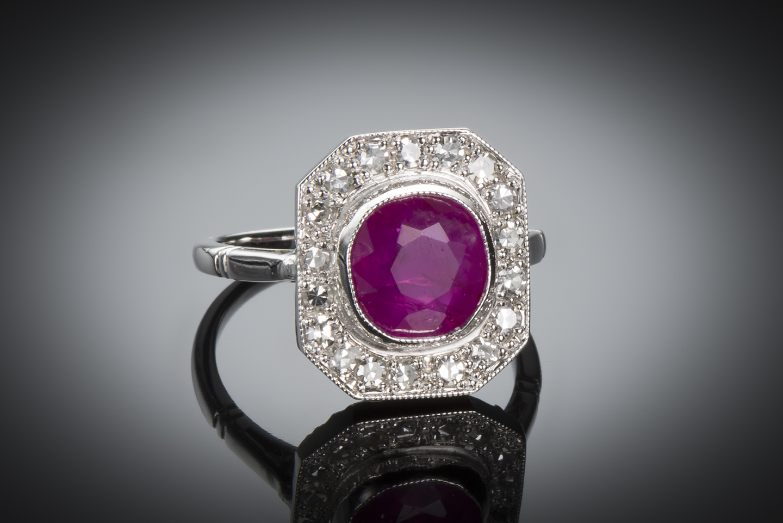 Bague Art Déco rubis birman naturel (certificat CGL) diamants-1