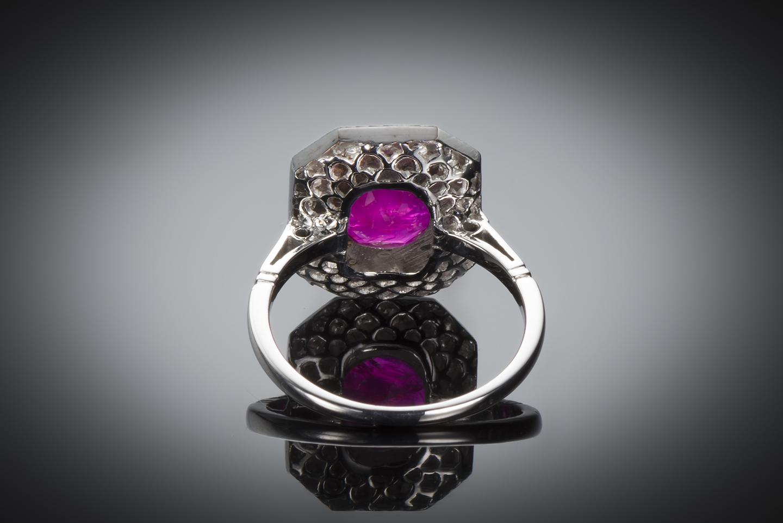 Bague Art Déco rubis birman naturel (certificat CGL) diamants-2