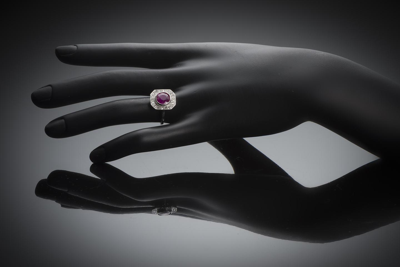 Bague Art Déco rubis birman naturel (certificat CGL) diamants-3