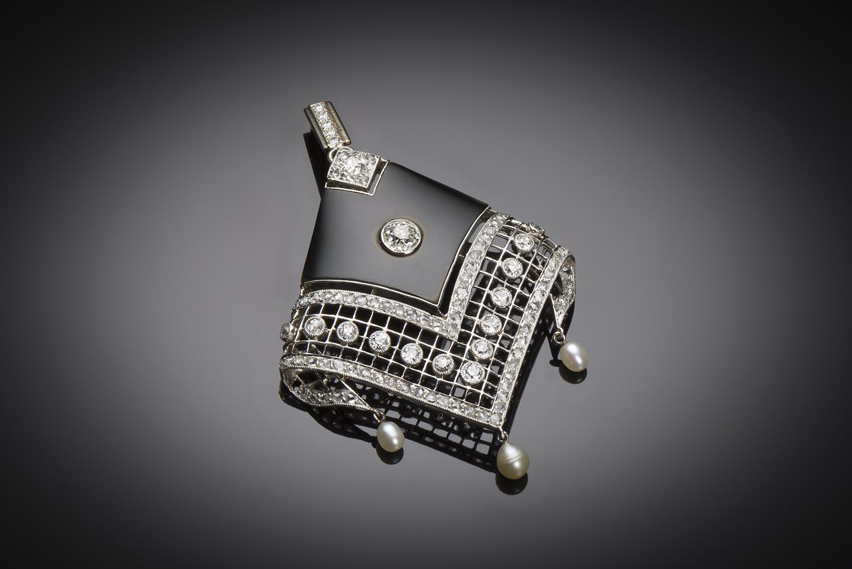 Pendentif onyx diamants perles fines Art Déco (vers 1930)-1