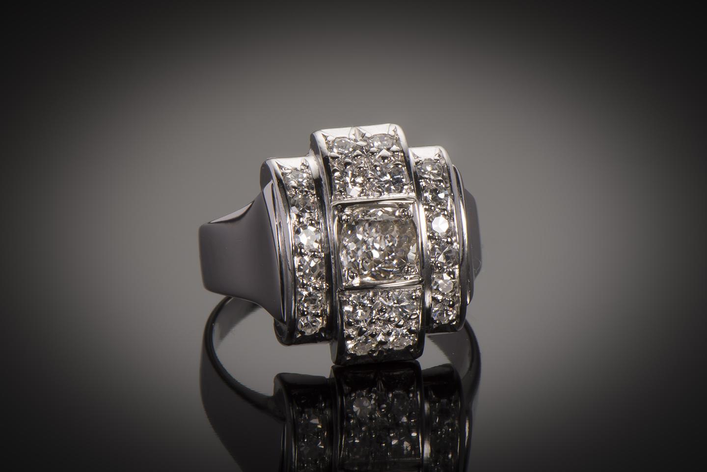 Bague diamants Art Déco (1,80 carat)-1