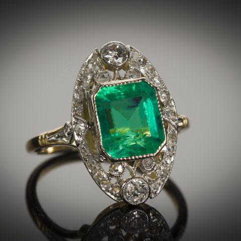 Bague émeraude diamants début XXe siècle