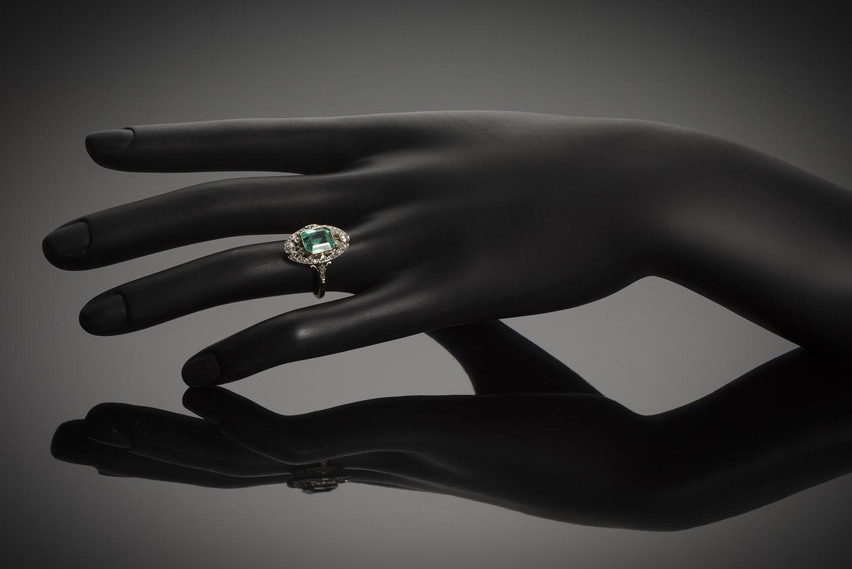 Bague émeraude diamants début XXe siècle-3