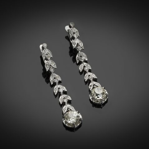 Pendants d'oreilles diamants (3,50 carats) vers 1935
