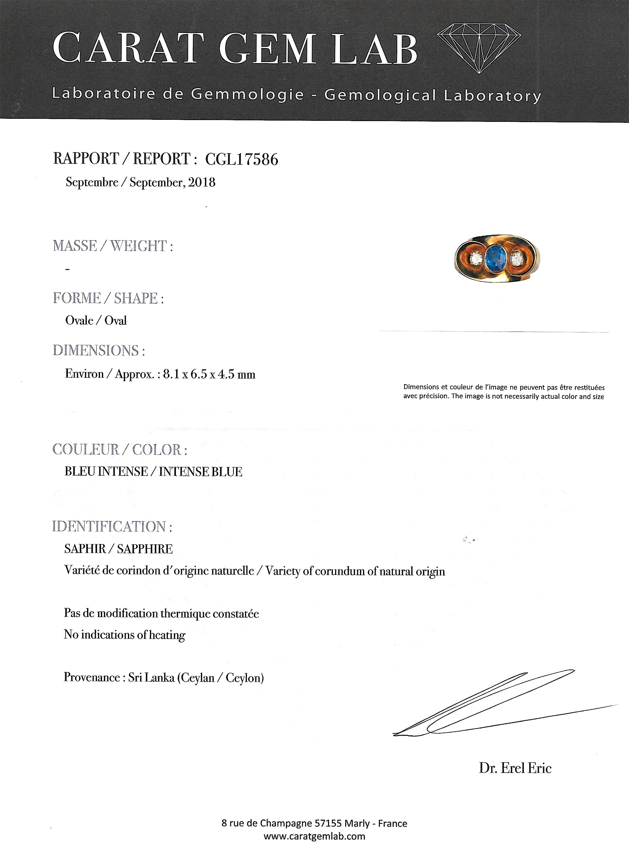 Bague saphir naturel (certificat CGL) diamants vers 1940 – 1950-3