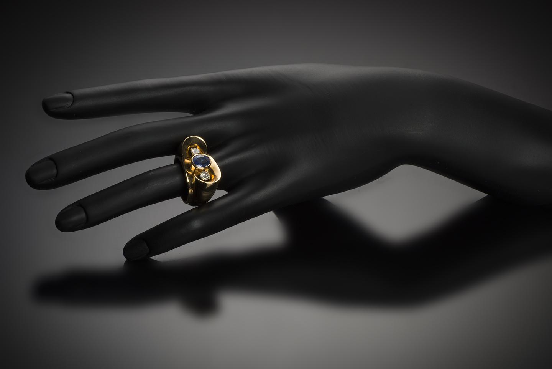 Bague saphir naturel (certificat CGL) diamants vers 1940 – 1950-2