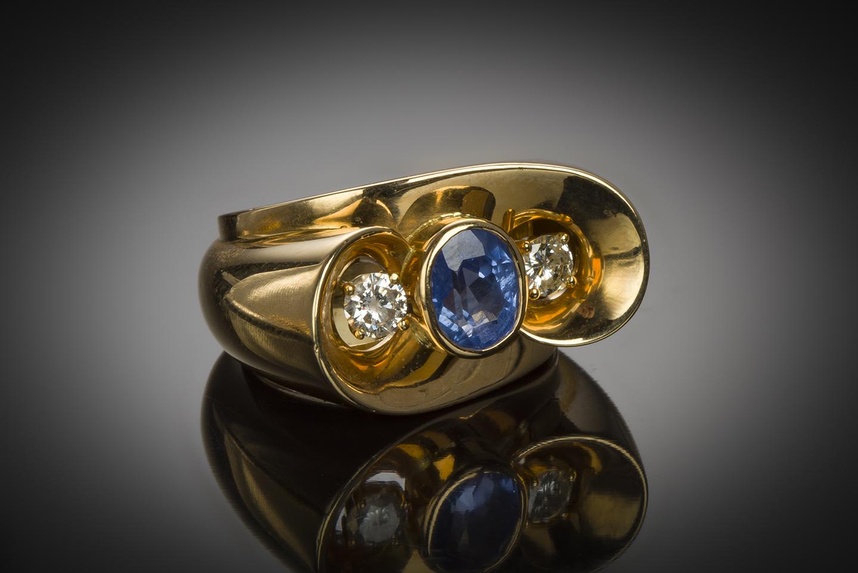 Bague saphir naturel (certificat CGL) diamants vers 1940 – 1950-1