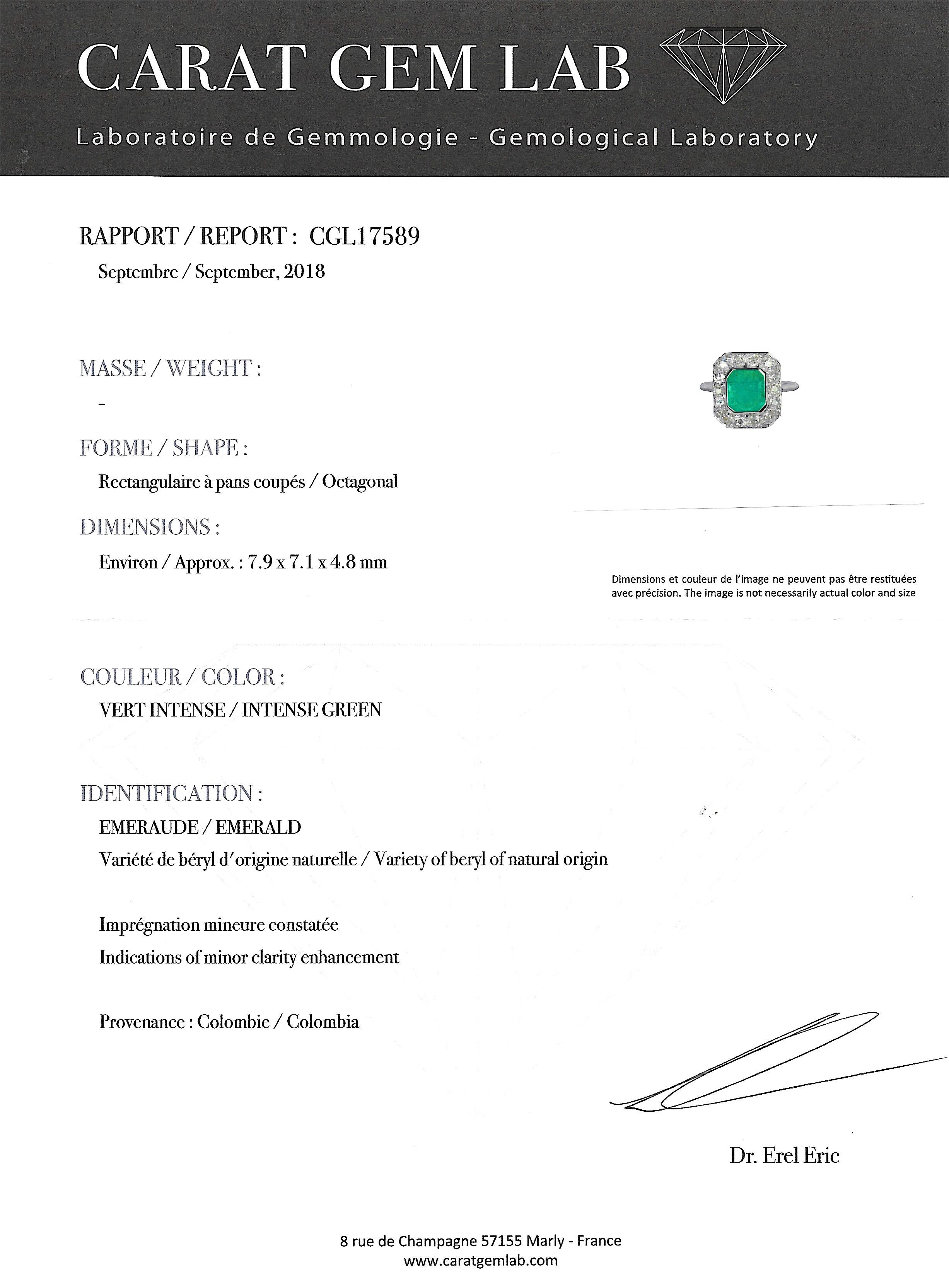 Bague Art Déco émeraude de Colombie (certificat CGL) et diamants-4