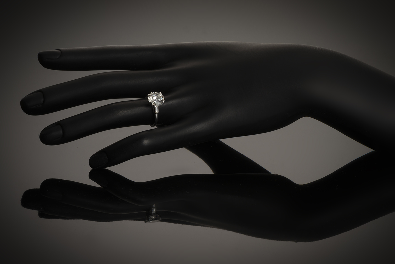 Bague solitaire diamant brillant 2,96 carats (certificat LFG)-2
