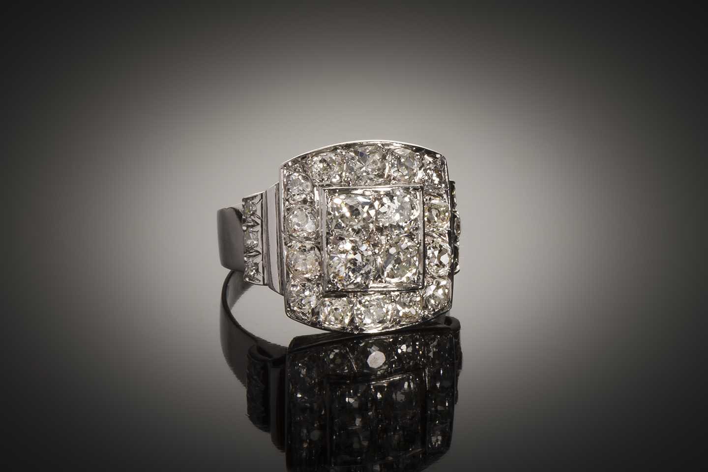 Bague diamants Art Déco (2,2 carats)-1