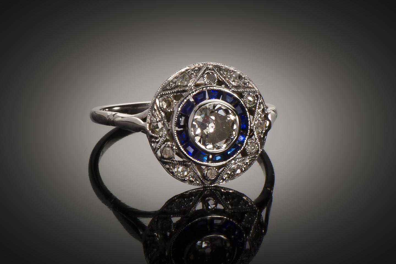Bague diamants saphirs calibrés Art Déco (vers 1930)-1