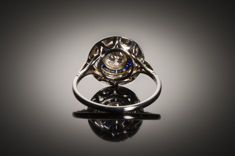 Bague diamants saphirs calibrés Art Déco (vers 1930)-2