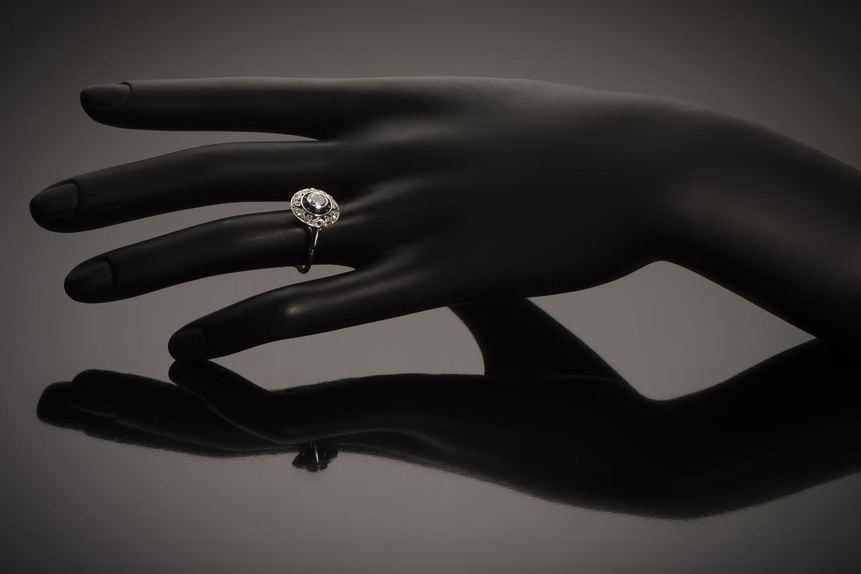 Bague diamants saphirs calibrés Art Déco (vers 1930)-3