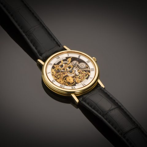 Montre Breguet squelette extra-plate or