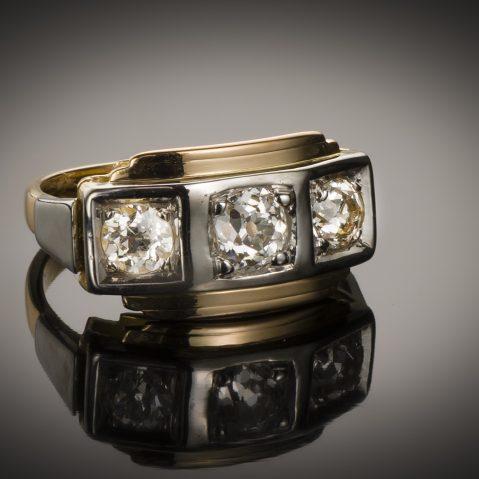 Bague « trilogie » diamants (1,20 carat) Art Déco vers 1925