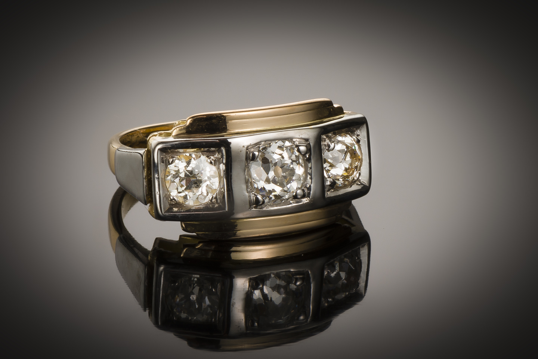 Bague « trilogie » diamants (1,20 carat) Art Déco vers 1925-1