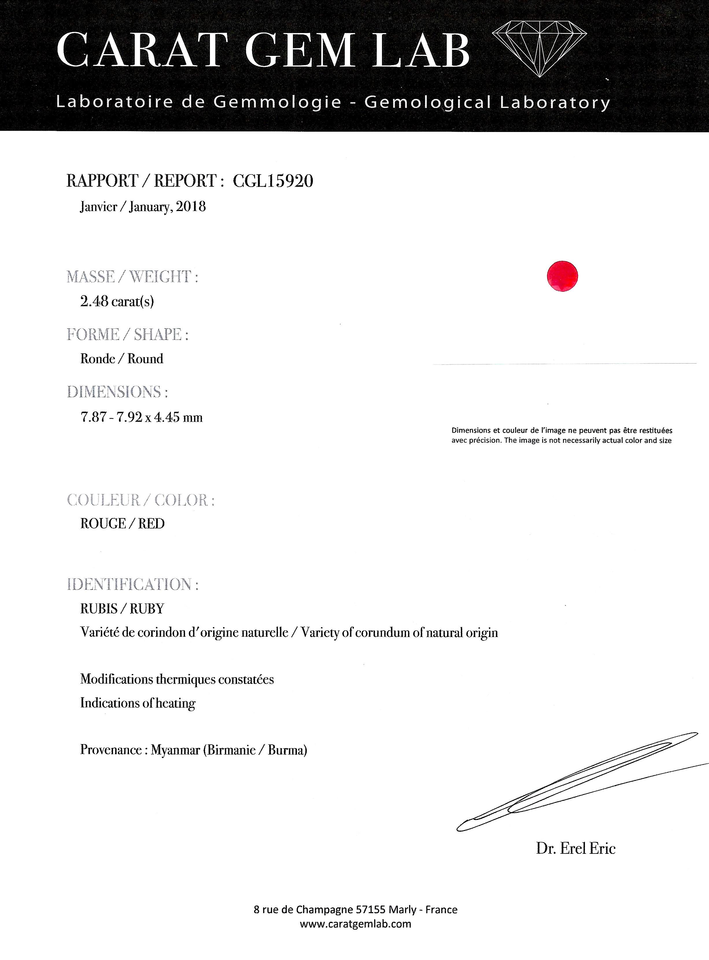 Bague vers 1920 rubis birman (certificat CGL) diamants-4